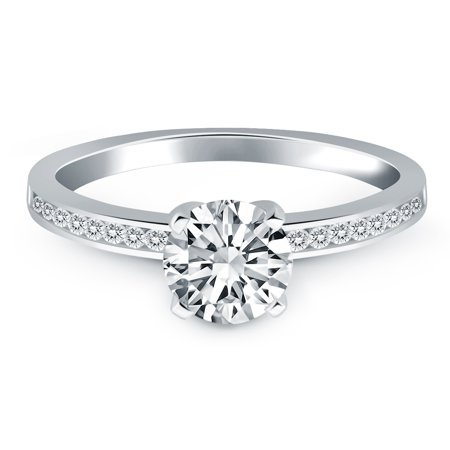 14k White Gold Engagement Ring with Diamond Channel Set Band - image 2 de 2
