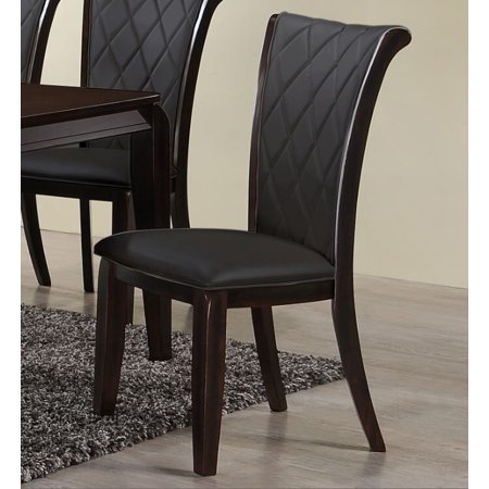 Home Source Adamand Dark Grey Side Chairs With Tufted Leather Seats Set Of 2