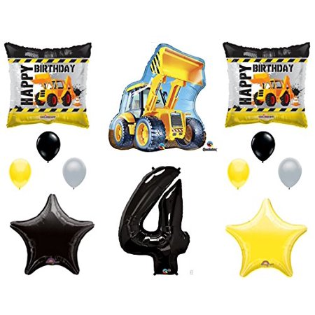 12pc new BALLOON set 4th BIRTHDAY party CONSTRUCTION truck DUMP bulldozer TRACTOR gift FAVORS decorations PHOTO booth PROPS