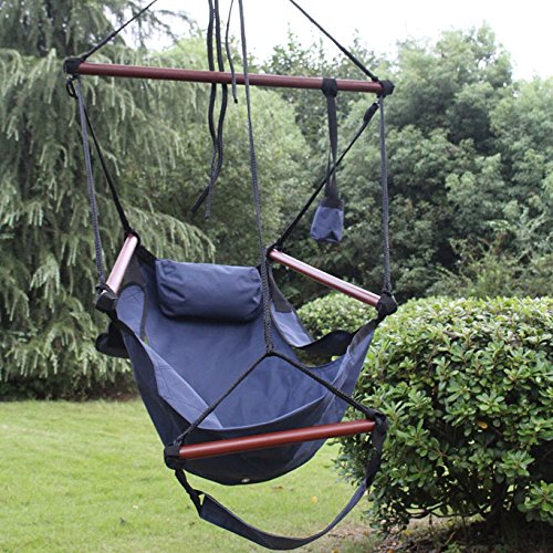 Incroyable Sunnydaze Deluxe Hanging Hammock Air Chair With Pillow And Drink Holder,  Solid Wood Bars,