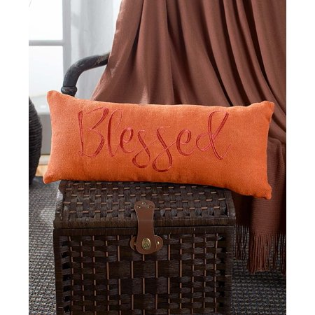 The Lakeside Collection Embroidered Burlap Bench Pillow - Blessed