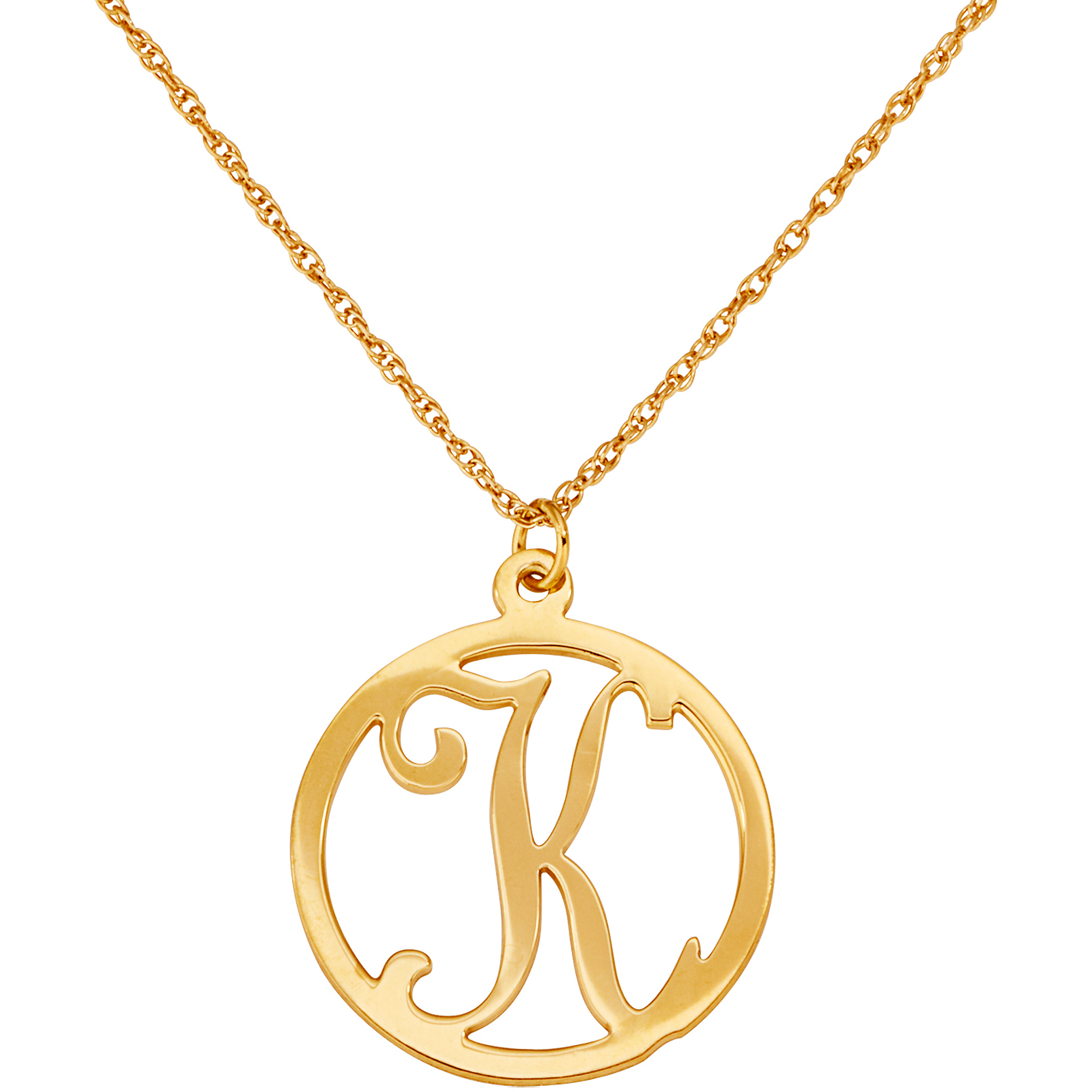 Personalized Women's Gold over Sterling Silver Single Initial Circle Necklace