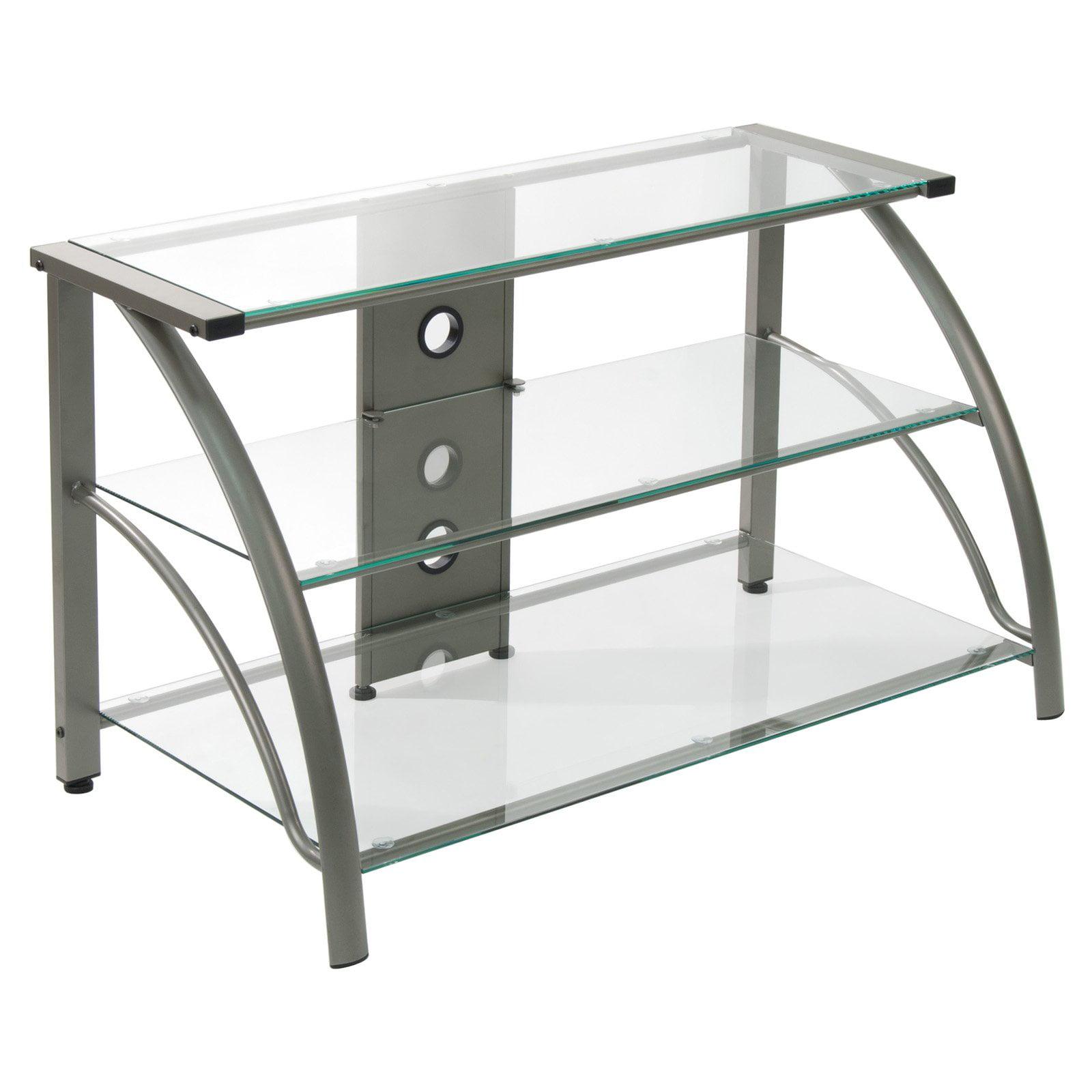Calico Designs Stilletto TV Stand, Champagne/Clear Glass
