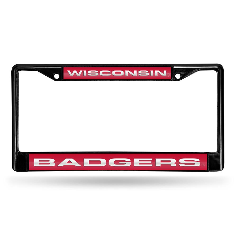 Wisconsin Badgers NCAA Laser Cut Black License Plate Frame