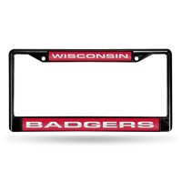 Wisconsin Badgers NCAA Laser Cut Black License Plate Frame