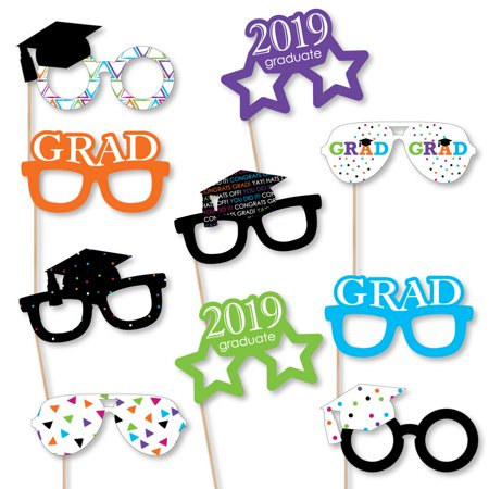 Hats Off Grad Glasses - 2019 Paper Card Stock Graduation Party Photo Booth Props Kit - 10 Count