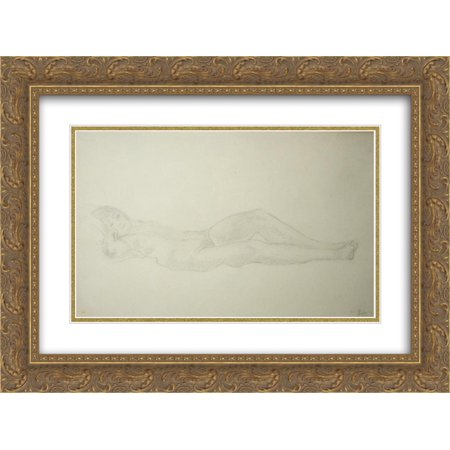 - Theophile Steinlen 2x Matted 24x18 Gold Ornate Framed Art Print 'Nude pencil'
