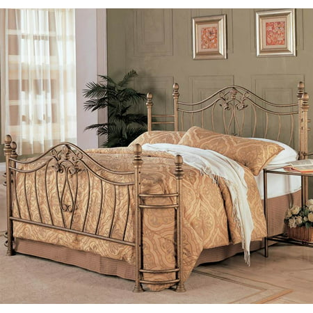 Transitional Iron Bed in Antique Brushed Gold (Full- 80 in. L x 54 in. W x 52.5 in. H) Ash Set Poster Bed