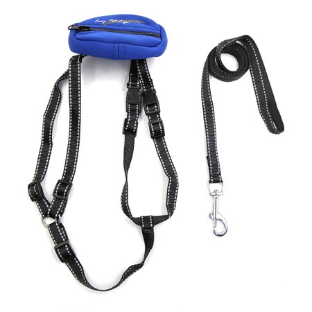 Safe Reflective Dog Harness Leash Adjustable Nylon Collar For Walking with Storage Bag