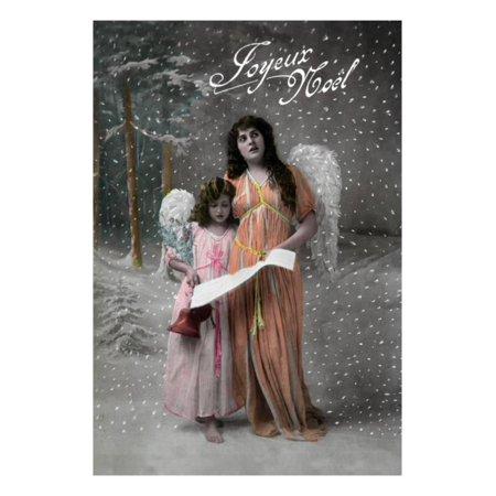 Joyeux Noel - Merry Christmas in French, Little Girl Carols with Angel Print Wall Art By Lantern (Joyeux Noel Merry Christmas)