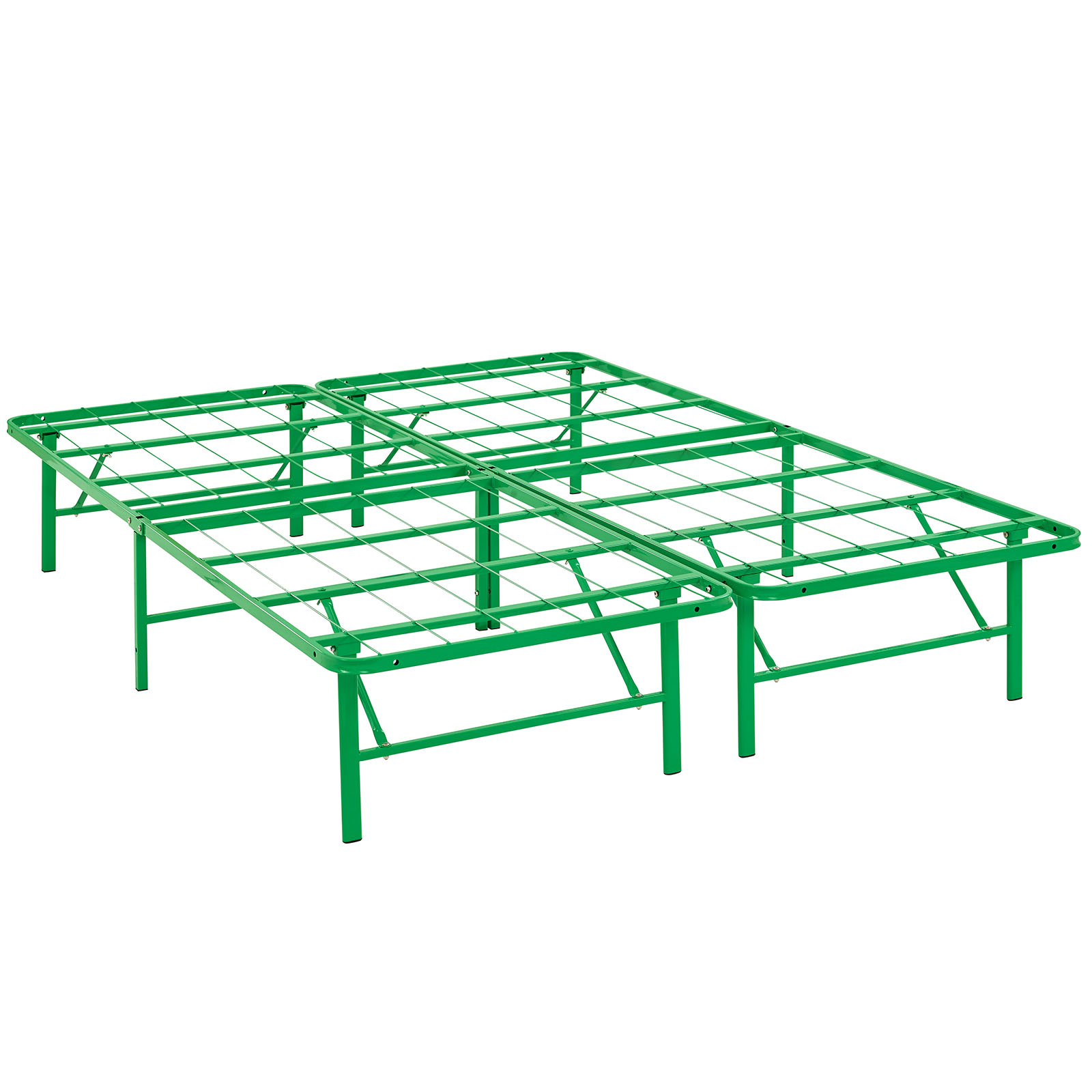 Modern Contemporary Urban Design Bedroom Queen Size Platform Bed Frame, Green, Metal Steel