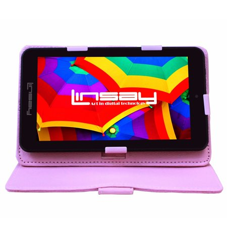 """LINSAY 7"""" 1280x800 IPS Touchscreen Tablet PC Featuring Android 4.4 (KitKat) Operating System Bundle with Pink Case"""