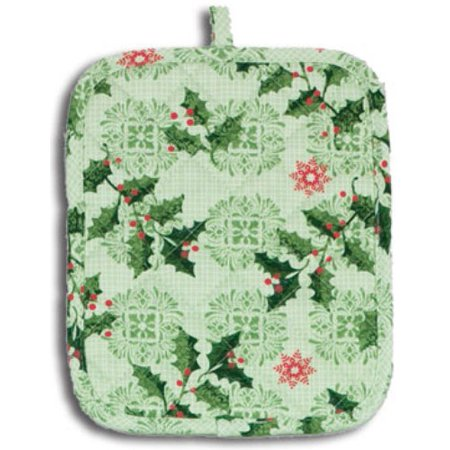 Sprigs of Festive Holly Holiday Kitchen Pot Holder, Measures 8 x 8 inches By Kay Dee Ship from US