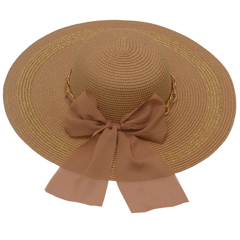 Hot Fashion Womens Brown Gold Chain Dotted Bow Accent Wide Brim Sun Hat
