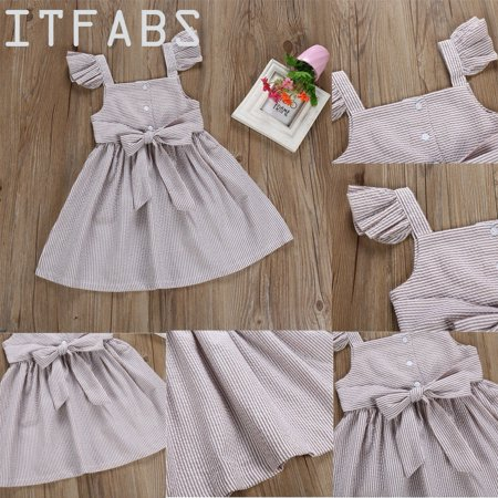 Lovely Toddler Princess Baby Bowknot Tutu Dress Ruffle Sleeve Buttons Sundress A-Line Swing Dresses Clothes