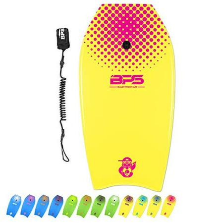 "BPS 'Shaka' 37"" Body Board - High Buoyancy Enhanced Speed Maneuverability Lightweight - Beginners Intermediate Pro Seasonal Surfers Board - with Black Wrist Coiled Leash (Yellow, Pink Accent)"