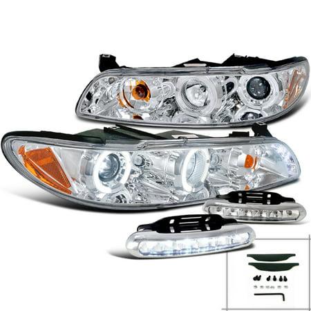 Spec-D Tuning For 1997-2003 Pontiac Grand Prix Led Halo Jdm Chrome Projector Headlights + Bumper Lights Fog Lamp (Left + Right) 1997 1998 1999 2000 2001 2002 2003 1990 Pontiac Grand Prix Coupe