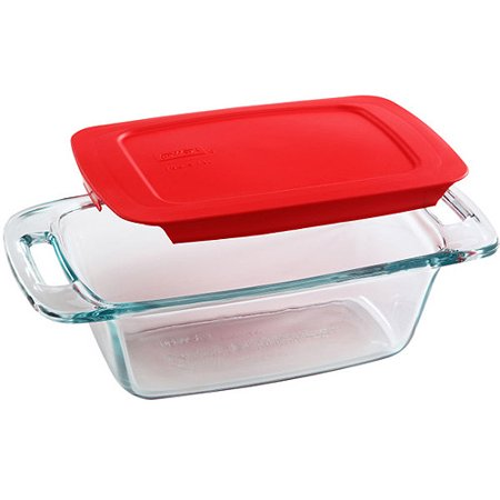Pyrex Easy Grab 1.5 Quart Loaf Dish with Red Plastic Cover