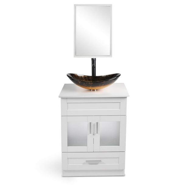 24 Inch Bathroom Vanity Set With Sink Pvc Board Cabinet Vanity Combo With Counter Top Glass Vessel Sink Vanity Mirror And 1 5 Gpm Faucet Walmart Com Walmart Com