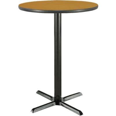 Golden Oak Laminate (36 Inch Round Bar Height Pedestal Table Med Oak Laminate Top, Cast Iron Base)