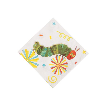 Fun Express - Very Hungry Caterpillar Beverage Napkins for Birthday - Party Supplies - Print Tableware - Print Napkins - Birthday - 16 Pieces (Hungry Caterpillar Birthday Party)