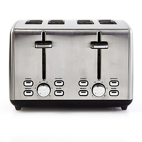 Professional Series Efficient, Defrost and Reheat Function, 925 Watts, Stainless Steel 4-Slice Toaster-