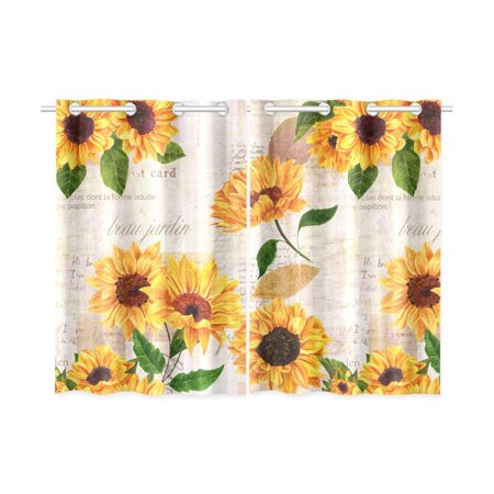 CADecor Vintage Window Kitchen Curtain, Sunflower Newspaper Window Treatment Panel Curtains,26x39 inches,Set of 2