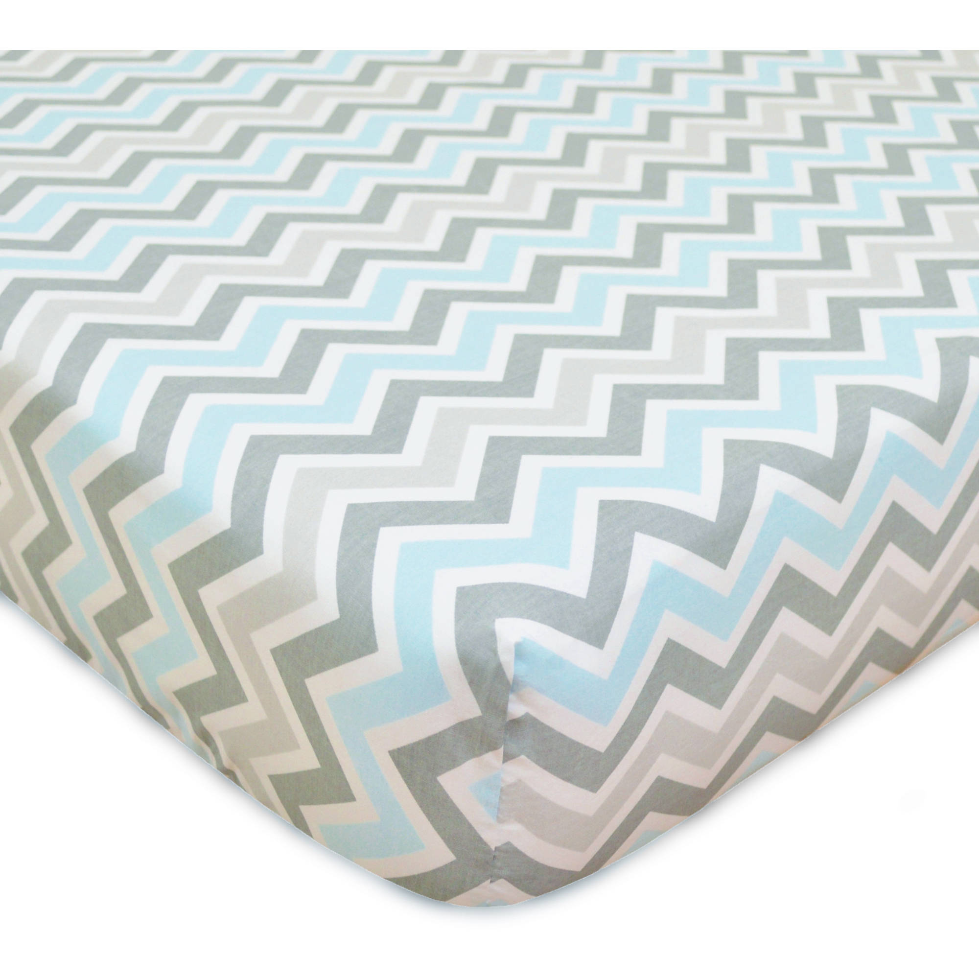 TL Care 100 Percent Cotton Percale Fitted Crib Sheet, Blue Zigzag
