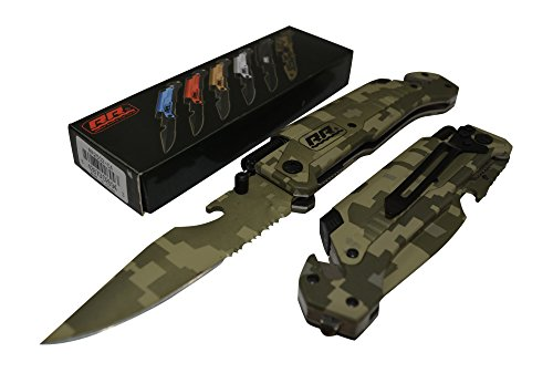 New Rogue River Tactical Knives Best Military Green CAMO 6-in-1 Multitool Survival Pocket Knife with Magnesium Fire Starter, LED Flashlight... by Rogue River Tactical