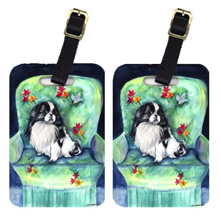Chic Luggage Tags - Pair of 2 Japanese Chin in Momma's Chair Luggage Tags