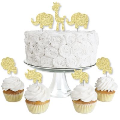 Gold Glitter Lion, Giraffe, Rhino and Elephant - No-Mess Real Gold Glitter Dessert Cupcake Toppers - Safari Jungle Baby Shower or Birthday Party Clear Treat Picks - Set of - Jungle Safari Golf