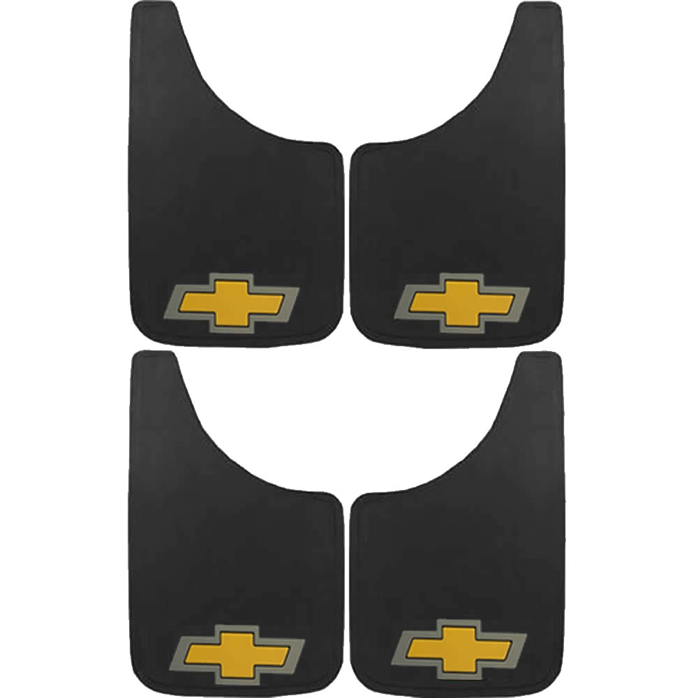 "4 Piece 9""x15"" Chevrolet Chevy Yellow Bow Tie Front Rear Mud Guards Splash Guards Car Truck SUV"
