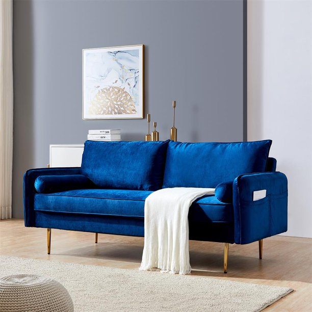 Velvet Futon Couch Modern Loveseat Sofa Twin Size Contemporary Sofas For Living Room And Bedroom Blue Walmart Com Walmart Com