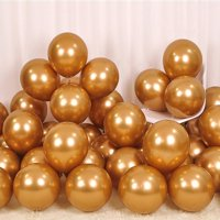 12 Inch 50Pcs Thicken Round Metallic Pearlescent Latex Gold Balloons for Party Supplies and Decorations, Shining Gold