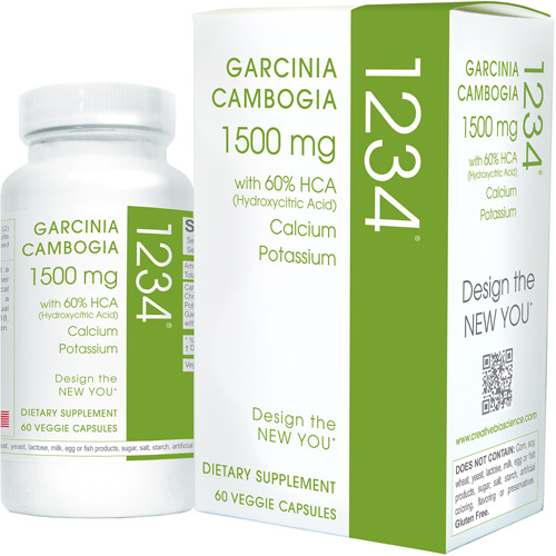 Creative Bioscience Garcinia Cambogia 1234 Veggie Capsules Dietary Supplement, 1500mg, 60 count