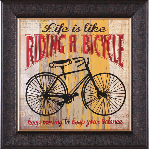 Art Effects Life Is Like Riding a Bicycle by Maria Donovan Framed Vintage Advertisement
