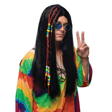 Long Hippie Black Wig Rubies 50818](Long Black Wigs)