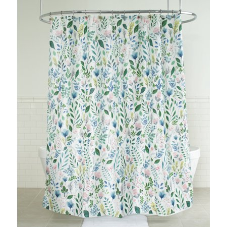 """Splash Home Sia Floral Polyester Fabric Shower Curtain, 70"""" x 72"""", Multi Colors / Green"""