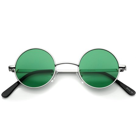 sunglassLA - Small Retro Lennon Inspired Style Colored Lens Round Metal Sunglasses 41mm - (How To Style Round Sunglasses)