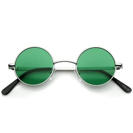 sunglassLA - Small Retro Lennon Inspired Style Colored Lens Round Metal Sunglasses 41mm - 41mm](Coloured Halloween Contact Lenses)