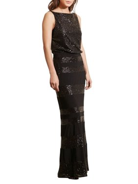 Product Image Lauren Ralph Sequin Stripe Blouson Evening Gown Dress
