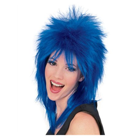 Mens Womens Blue Punk 80s Rock Super Star Costume Wig - 80s Wig