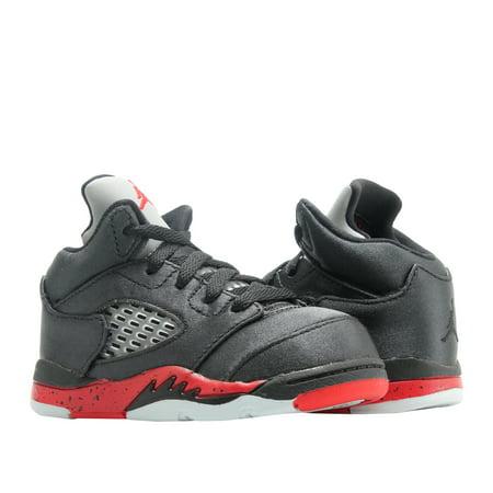 Cheap Kids Jordans (Nike Jordan 5 Retro (TD) Satin Black/Red Toddler Kid Basketball Shoe)