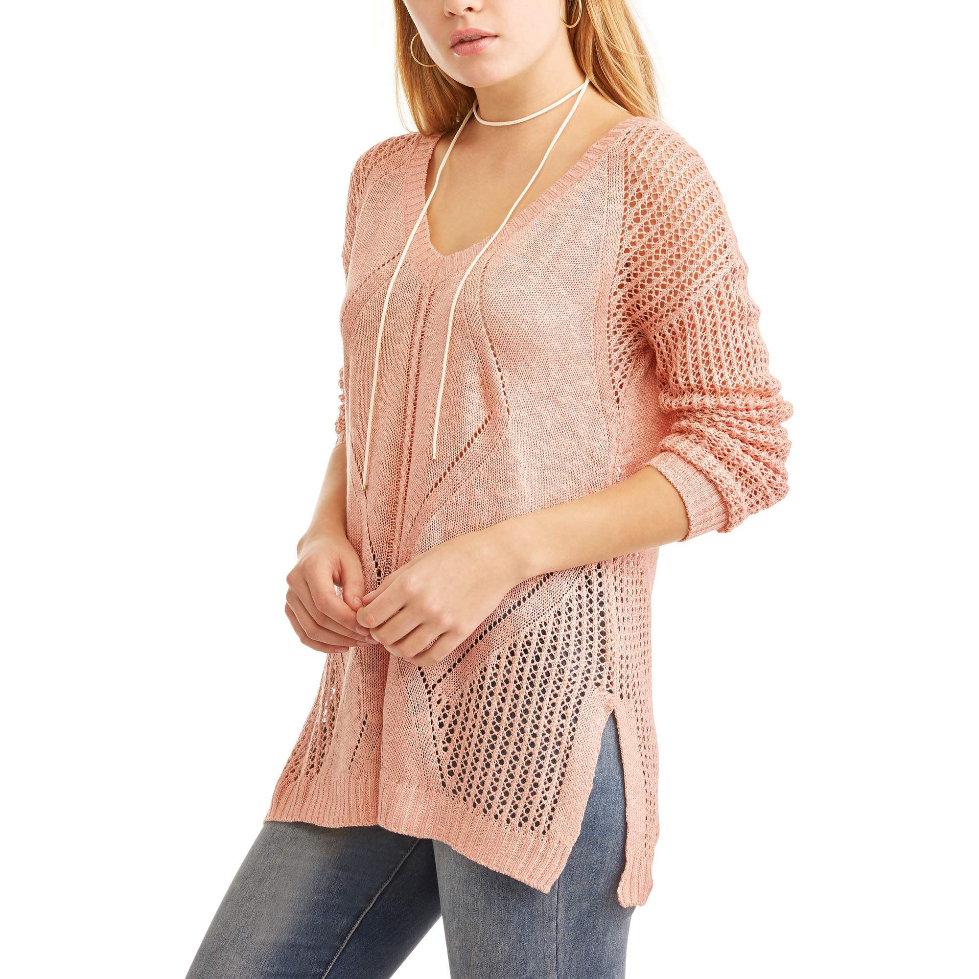 Poof! Juniors' Textured Knit Long Sleeve V-Neck Tunic Sweater