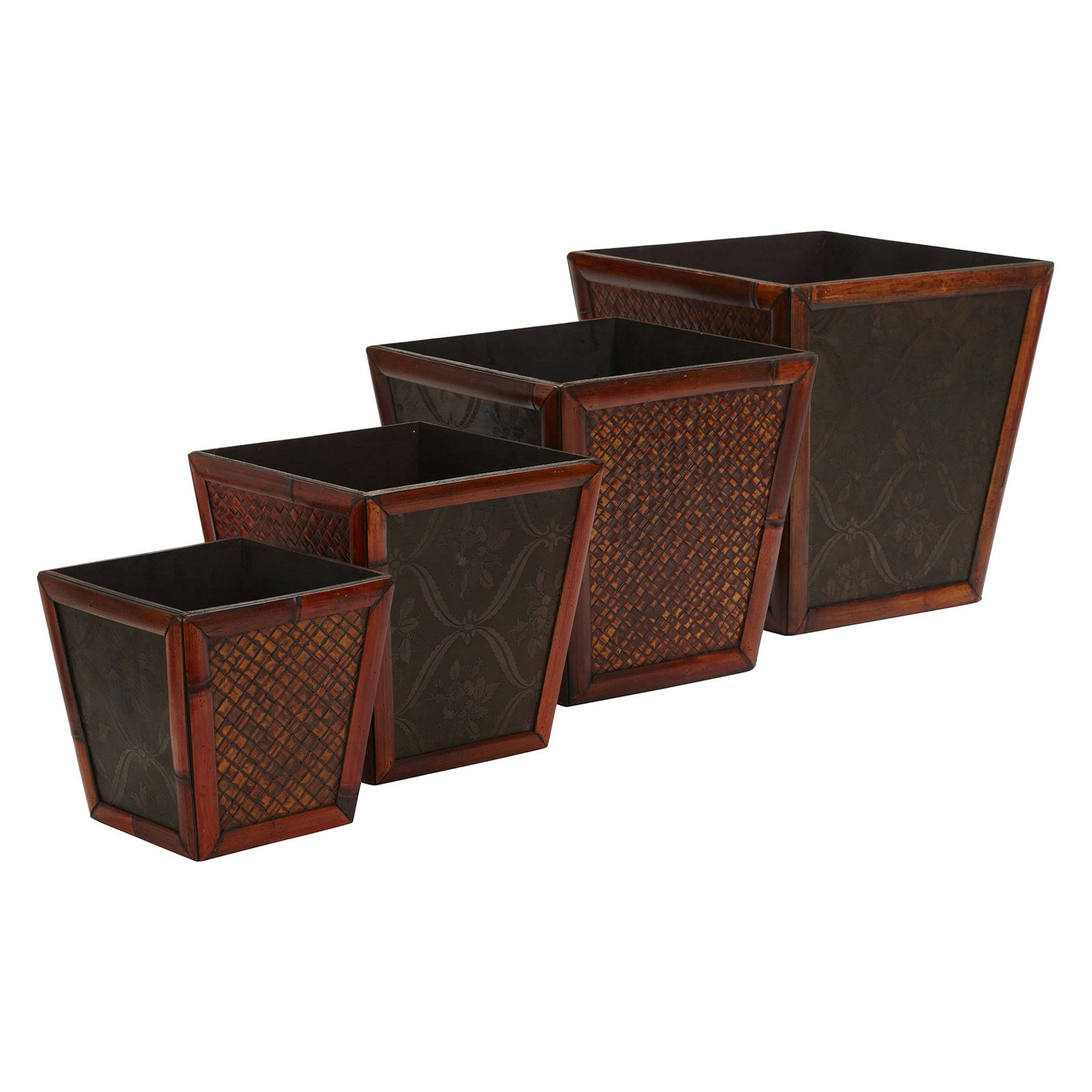 Nearly Natural 4pc Bamboo Square Decorative Planter Set