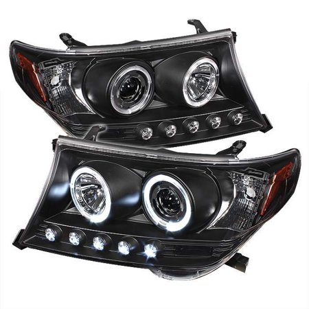 Spyder Toyota Land Cruiser 08-11 Projector Headlights - LED Halo - LED ( Replaceable LEDs ) - Black - High H1 (Included) - Low H1 (Included)