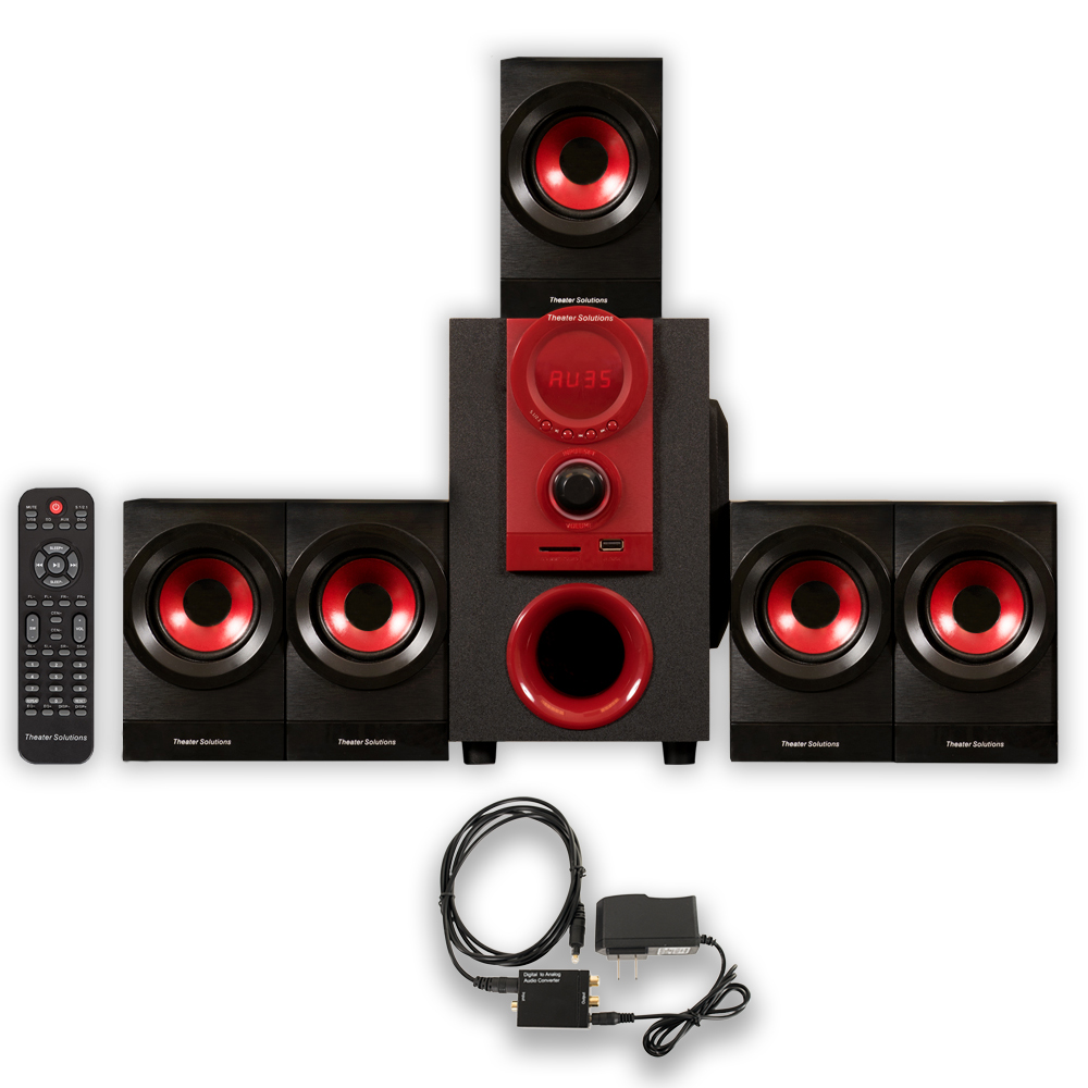 Theater Solutions TS521 Home Theater 5.1 Speaker System 450W with Optical Input TS521D