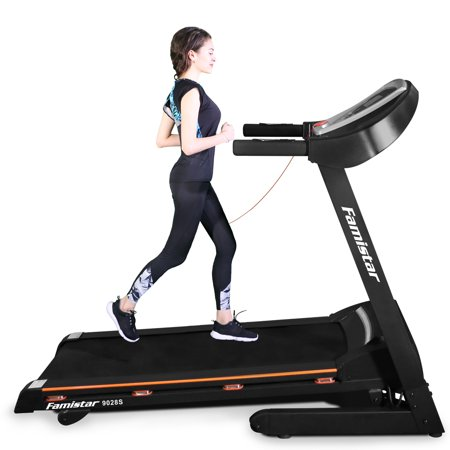 "3.25HP Portable Folding Electric Treadmill, Famistar 15-Level Auto Incline Electric Running Training Fitness Treadmill w/ 12 Programs, Built-in MP3 Speaker, 5"" LCD Display, Free Knee Strap Gift, 9028S"