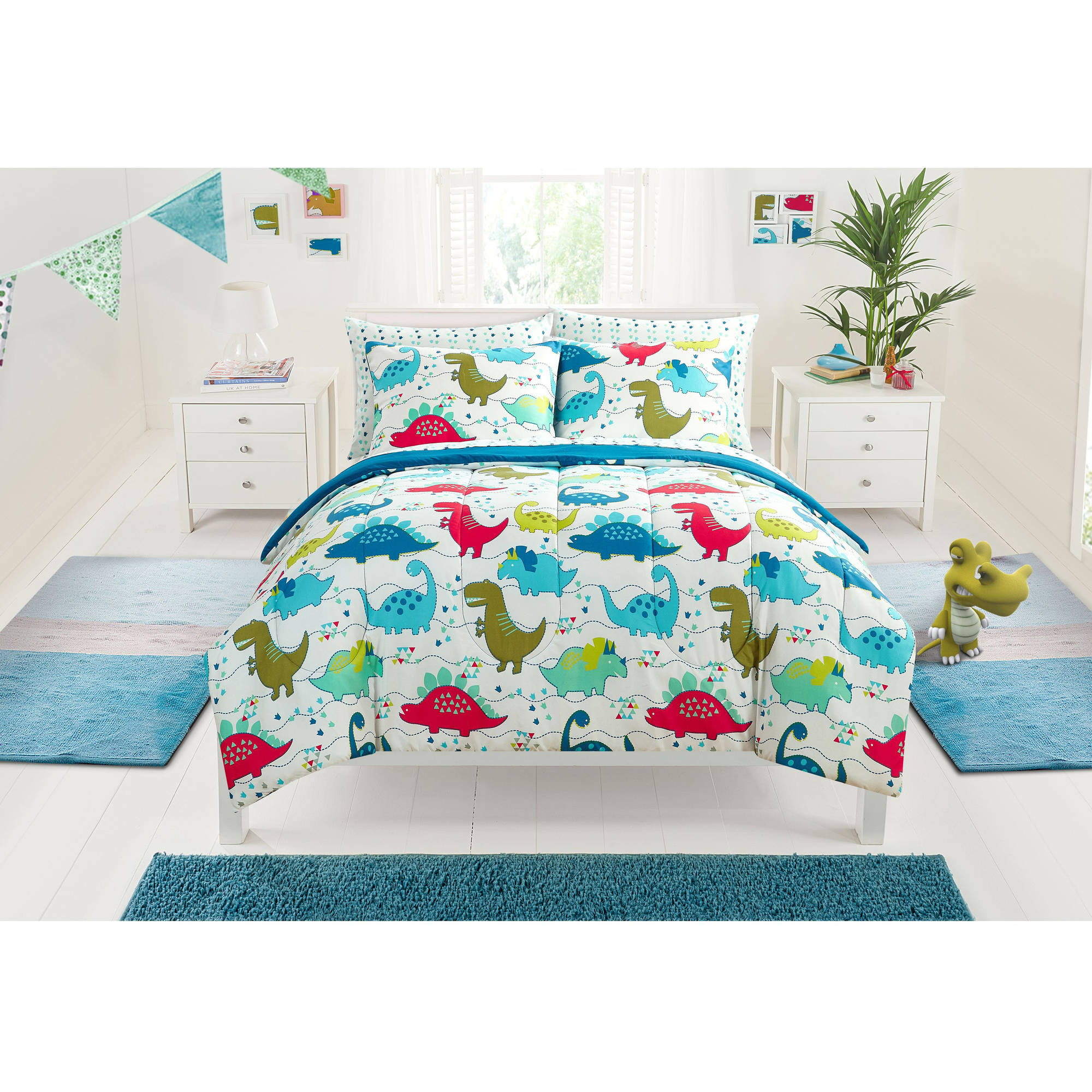 Mainstays Kids Dino Roar Bed in a Bag Bedding Set - Walmart.com