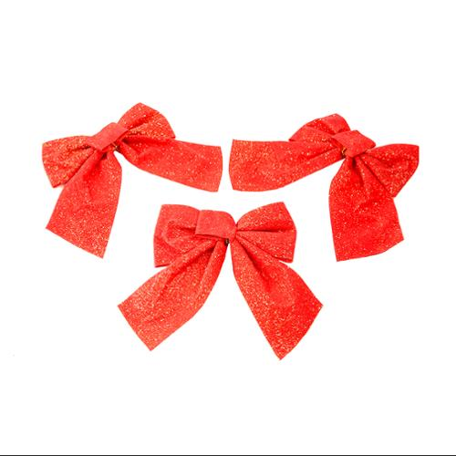 """Pack of 3 Red and Gold Glitter Velveteen Christmas Ornament Gift Bows 6"""""""